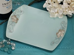 Square Glass Tray Favors with Silver Floral Accents image