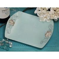 Square Glass Tray Favors with Silver Floral Accents