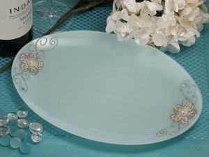Oval Glass Tray Favors with Silver Floral Accents image