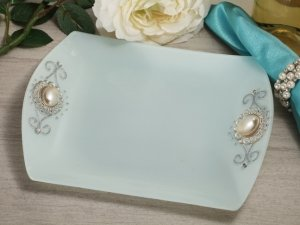 Pearl Accented Square Glass Tray Favors image