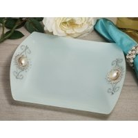 Pearl Accented Square Glass Tray Favors