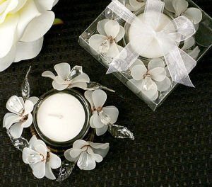 Elegant Frosted White Glass Flower Candle Holder image