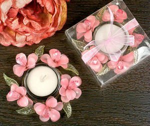 Elegant Frosted Pink Glass Flower Candle Holder image