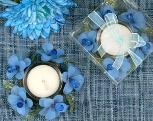 Elegant Frosted Blue Glass Flower Candle Holder image