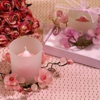 Elegant Frosted Pink Flower Glass Candle Holder