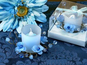 Elegant Frosted Blue Flower Glass Candle Holder image