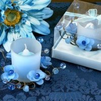 Elegant Frosted Blue Flower Glass Candle Holder