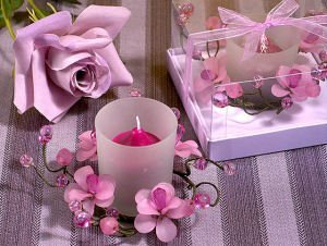 Elegant Frosted Lavender Flower Glass Candle Holder image