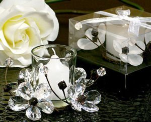 Elegant Black and White Crystals Flower Candle Holder image