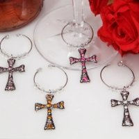 Dazzling Cross Wine Charms