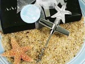 Chrome Starfish Design Wine Opener Favors image