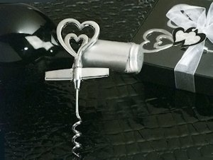 Two Hearts Chrome Wine Opener Favors image