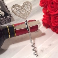 Ornate Heart Silver Wine Opener