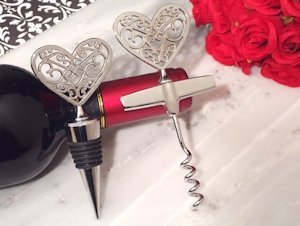 Ornate Heart Wine Stopper & Opener Set image