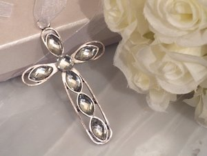Shimmering Cross with Clear Crystals image