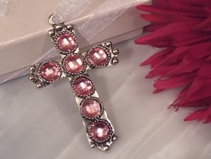 Shimmering Cross with Pink Crystals image