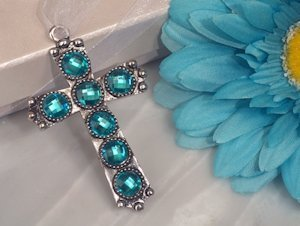 Shimmering Cross with Blue Crystals image