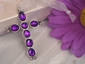 Blessed Cross with Purple Crystals image