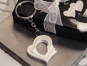 Open Heart Pearl White Key Chain Favors image