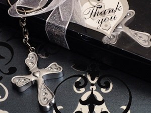 Silver Finish Cross Keychain Favors image