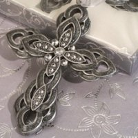 Ornate Pewter Finish Cross Favors