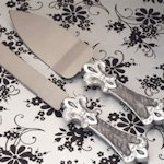 Fleur De Lis Collection Cake and Knife Set