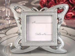 Butterfly Design Silver Place Card Frame Favors image