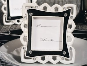 Stylish Hearts Black and White Place Card Frames image