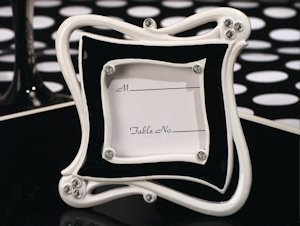 Stylish Chic Black and White Place Card Frame Favors image