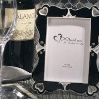 Elegant Hearts Black and White Photo Frame Favors