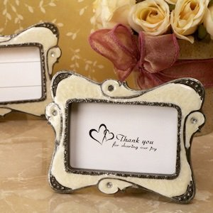 Stylish Ivory Swirl Victorian Place Card Frames image