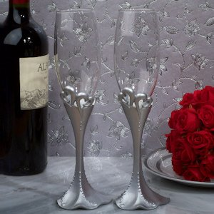 Two Hearts Beat as One Toasting Flutes image