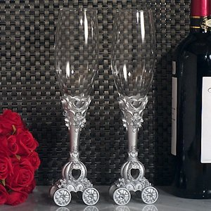 Enchanted Wedding Coach Toasting Flutes image