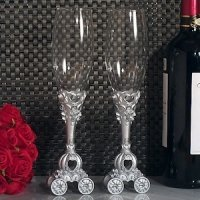 Enchanted Wedding Coach Toasting Flutes