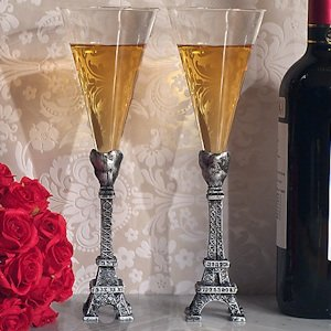 Stunning Eiffel Tower Wedding Toasting Flutes image