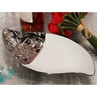Ornate Elegance Teardrop Porcelain Bowl Accented with Silver