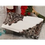 Ornate Elegance Silver Accented Rectangular Porcelain Bowl