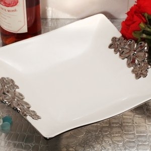 Rectangular Porcelain Bowl with Floral Silver Trim Accents image