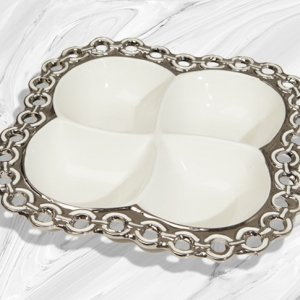 Porcelain Divided Platter with Silver Circle Accents Wedding image
