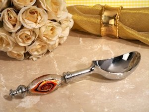 Murano Art Deco Orange and Black Swirl Ice Cream Scoop image