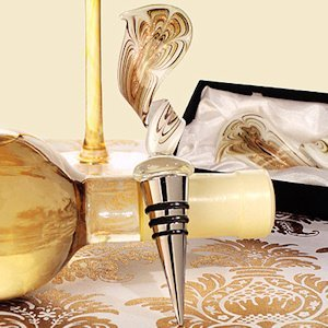 Art Deco Elegant Golden Swirl Wine Stopper image