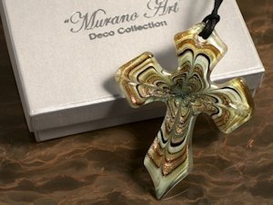 Art Deco Shades of Gold Glass Cross Favors image