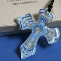 Art Deco Blue Swirls Glass Cross Favors