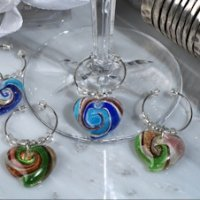Murano Design Glass Heart Wine Charm Favors