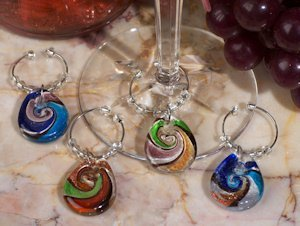 Murano Design Glass Teardrop Wine Charm Favors image