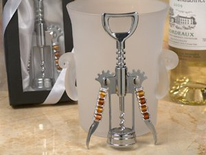 Golden Brown Glass Bead Wine Opener Favors image
