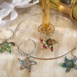 Starfish Swirl Glass Wine Charm Favors (Set of 4)