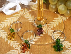 Grape Design Glass Wine Charm Favors (Set of 4) image
