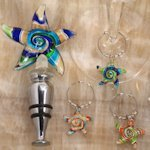 Starfish Design Glass Bottle Stopper and Wine Charm Set
