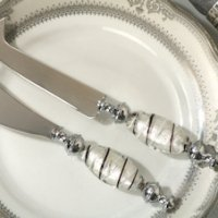 Murano Art Deco Cheese Knife and Spreader Set